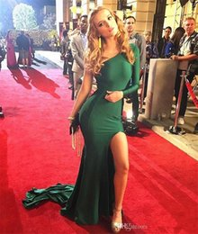 Barato Vestido Verde Escuro De Manga-Dark Green Sexy One Shoulder Prom Dresses 2017 Novo barato Long Sleeves Evening Party Vestidos High Thigh Split Sweep Train Formal Dresses Custom