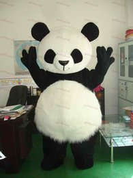Barato Panda Suit Tamanho Adulto-Long Hair Panda Bear Animal Adult Size trajes de mascote Fancy Party Dress Suit + EPE Head
