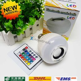 Audio Spotlight NZ - Wireless bluetooth 12W LED speaker bulb Audio Speaker E27 Colorful music playing & Lighting With 24 Keys IR remote Controller