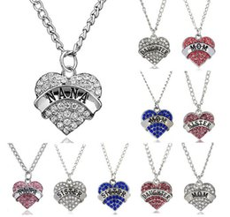 Discount mum pendants - Fashion Crystal Rhinestone Heart Mom Mum Daughter Sister Pendant Necklace Family Gifts