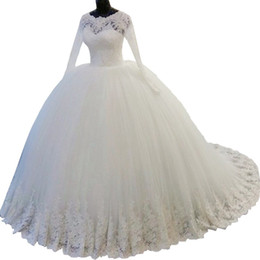 amazing plus size wedding dresses UK - Amazing Real Photo Plus size Lace Ball Gown Wedding Dress Gown With Illusion Long Sleeves 2018 Tulle Cheap Country Style Beaded Custom