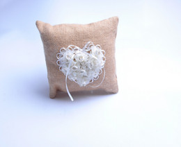 $enCountryForm.capitalKeyWord Canada - Square Pearl Rhinestone Lace Linen With Heart Rose Bridal Ring Bearer Pillow Beaded Wedding Ceremony Favors Box