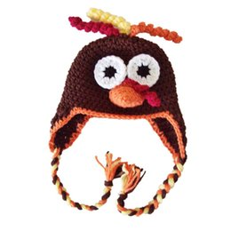 baby boy handmade beanies UK - Novelty Turkey Earflap Hat,Handmade Knit Crochet Baby Boy Girl Thanksgiving Turkey Beanie Cap,Shower Gifts,Newborn Infant Photo Prop