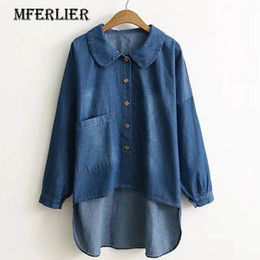 Barato Casaco Longo Peter Pan Colar-Mferlier Mori Girl Denim Autumn Coat Trench Femme Peter Pan Colar Manga comprida Single Breasted Pocket Irregular Hem Trench Coat
