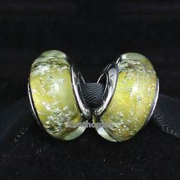 Fluorescence Glasses Canada - DIY Loose Beads Handmade Lampwork 925 Sterling Silver Belle' s Fluorescence Murano Glass Charm Bead Fits European Pandora Jewelry Bracelets