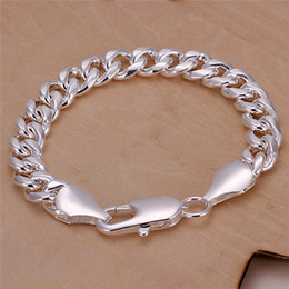 Sterling Silver Figaro Bracelet NZ - H151 factory price 925 sterling silver plated Figaro chain bracelet 10MMX20CM fashion Men's Jewelry Free Shipping