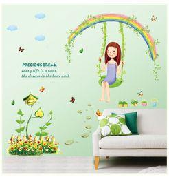 $enCountryForm.capitalKeyWord Canada - Removable PVC Decal Wall Sticker DIY Art Home Decor --Lovely Girl with Precious Dream Playing on a Swing Wall Art Mural Sticker Decor