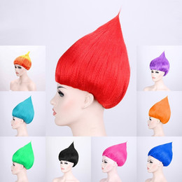 Wigs for kids online shopping - Trolls Wig Colorful Flame Head Hairpiece For Kids Halloween Party Cosplay Wigs Green Red Top Quality xy Bkk