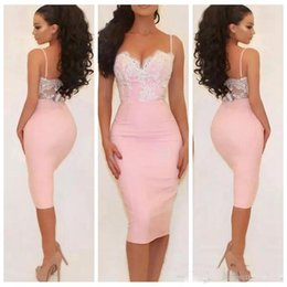 2018 spaghetti pink sheath cocktail party formal dresses short lace appliques holiday beach spaghetti backless cheap homecoming prom gown