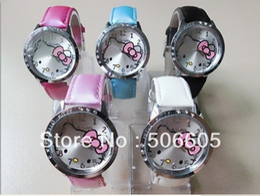 8f6eb3336f7 Free Shipping 10PCs Hello Kitty Lady Students Girls Womens Woman Fashion  Gift Quartz Wrist Watch
