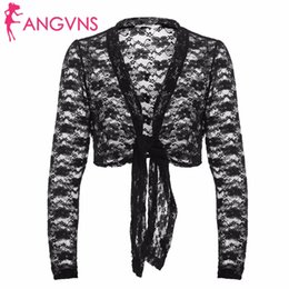ANGVNS Cardigan a punto aperto in pizzo da donna 2017 New Autumn Ladies Nero Manica lunga Lace Up Floreale Bolero Crop Giacca corta Outwear