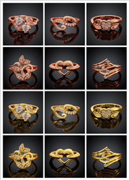 Plated Rose Gold Jewelry Wholesale Canada - Mixed 10 style 10pcs lot plated Rose gold   Yellow gold crystal ring girl   woman fashion jewelry party gift