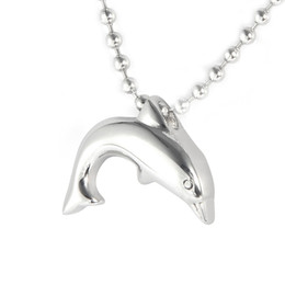 $enCountryForm.capitalKeyWord Australia - Lily Cremation Jewelry Stainless Steel Waterproof Dolphin Charm Urn Pendant Necklace with gift bag with gift bag and chain