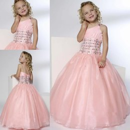Robes À Une Balle Rose Épaule Pas Cher-2015 Pink Princess Flower Girl Robes Pour Mariages One Shoulder Beads Ball Gown Longueur de plancher Lovely Cheap Girls Pageant Child Party Gowns