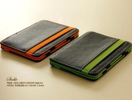 online shopping South Korea Magic Card Holder Wallet New MAGIC MONEY Clips For Men Purse Orange Green Colors