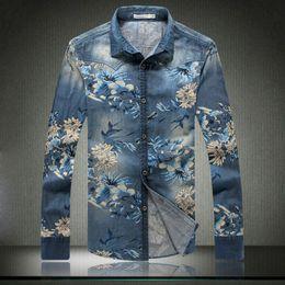 03d9732102e FG1509 New Men Denim Shirts 2015 Spring Brand Casual Floral Printed Mens  Dress Shirts Men Slim Fit Long Sleeve Jeans Shirts Blue Xxxxl
