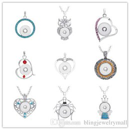 Metal spider charMs online shopping - 18mm Interchangeable Button Diy Jewelry Snap New Button Metal Necklace With Owl Heart Spider Princess Pendant