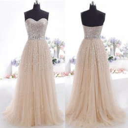 $enCountryForm.capitalKeyWord Canada - 2019 Sparkle Bling Prom Dresses Sweetheart Sequins Tulle A-Line Floor Length Hot Selling Party Gowns Zipper Back Custom Made P161