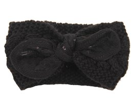 Discount dark blue black hair dye - Winter New fashion women Wool Knitted Headbands Lovely rabbit ears Turban Headband Crochet Elastic Hair Bands Ladies ear