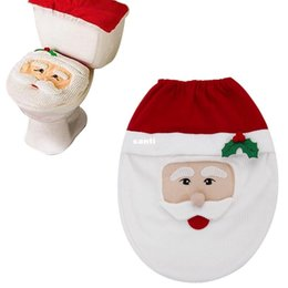 Discount cloth seats - Fashion Hot Snowman Toilet Seat Cover and Rug Bathroom Set Christmas Decoration