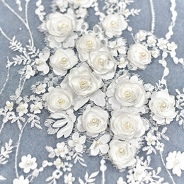 3D luxury white stereoscopic flower French Embroidered Lace fabric with pearls Wedding formal dress Lace fabric D001 on Sale