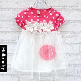 Lace Rose Flower Tutu Canada - 2015 Summer New baby Rose flower tutu dress girls short sleeve lace Princess tutu dress kids clothing C001