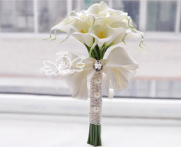 Discount White Lily Bridal Yellow 18pcs Calla Flowers Wedding Bouquets Formal Bridesmaid Garden