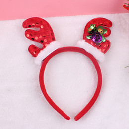 Best Gift For Xmas Australia - 15% off fashion Christmas headwear Plush antlers head hoop children hair accessories for girls best xmas gift drop shipping 25pcs
