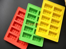 Silicone Blocks Canada - Free Shipping New Building blocks block brick Ice Chocolate Mold Silicone Ice Cube Tray Size 16x10.5cm,50pcs lot