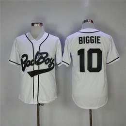 Barato Bad Boy Jersey-Mens The Notorious B.I.G. Movie Bad Boy # 10 Biggie Smalls Black White Stitched Baseball Film Buttons barato Jerseys Tamanho S-3XL