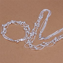 top china wholesale fashion jewelry Australia - S063 Top quality 925 sterling silver five-wire Beads Necklace & Bracelet Fashion Jewelry Sets for women party gift Free shipping