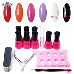 Barato Uv Gel Nail Summer Colors-Atacado-Perfect Verão Gel UV Kit Unhas Gel 6 cores poloneses com LED Gel UV Set polonês para unhas de gel Kit Nail Art