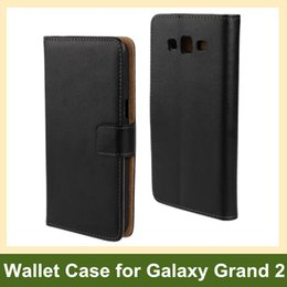 Samsung Grand Wallet Case Canada - Wholesale Fashion Genuine Leather Wallet Flip Cover Case for Samsung Galaxy Grand 2 G7106 G7108 G7109 Free Shipping