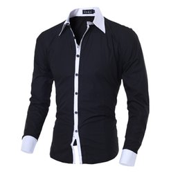 Chinese  Men Shirt Black White Male Long Sleeve Shirts Casual Solid Multi-Button Hit Color Slim Fit Dress Shirts M-2XL manufacturers