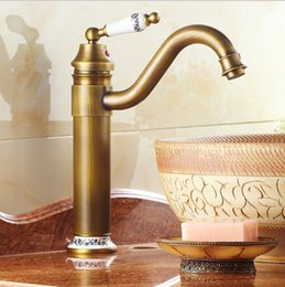 Basin Faucets Mixer Taps Antique Brass Finished Hot And Cold Deck Mounted Porcelain Sink Faucet Af1064 Basin Faucets Bathroom Fixtures