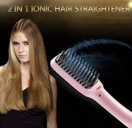 Red Straightening Irons NZ - 2 in 1 Ionic Hair Straightener Comb Irons LCD Display Straight Hair Brush Comb Straightening Pink Black Free by DHL