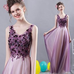 $enCountryForm.capitalKeyWord Canada - Purple Lace Beaded 2017 Evening Dresses V-neck A-line Tulle Prom Dresses Vintage Cheap Formal Party Bridesmaid Gowns
