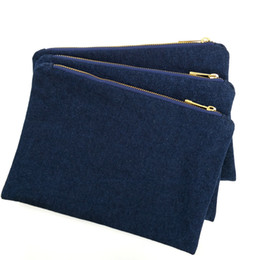 Wholesale denim factory for sale - Group buy 14oz thick denim makeup bag with gold metal zip and true red lining navy blank denim cosmetic bag free ship by DHL directly from factory