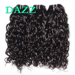 Venta al por mayor de DAZZ visón pelo de la Virgen brasileña onda de agua cabello 4 paquetes oferta conjuntos de armadura paquetes de onda de agua Remy extensiones de cabello humano húmedo y ondulado