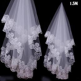 $enCountryForm.capitalKeyWord NZ - 1.5 M Charming Cheap Girls Wedding Bridal Accessories Veil For Wedding Lace White Ivory Color Hot Sale Charming Top 01