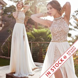 Discount floor length chiffon skirt - 2017 Julie Vino lace wedding dresses A line chiffon summer beach high waist side slit lace halter backless hi lo bridal
