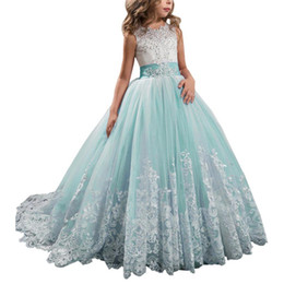 Wholesale flower aqua green for sale - Group buy Lace Aqua Green Flower Girl Dresses Kids First Communion Dress Ball Gown Lace Pageant Gowns gowns for girls