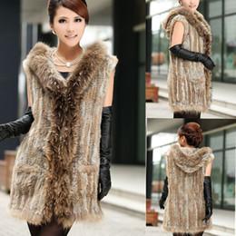 8a2af71d98 Black Rabbit Vest Canada - 2014 Hot Sale Middle-Length Knitted hood rabbit  fur vest