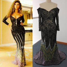 real photo myriam fares UK - Myriam Fares Luxury Beaded Lace Evening Dresses with Long Sleeves Sexy Black Off Shoulder Floor Length Celerbity Dresses
