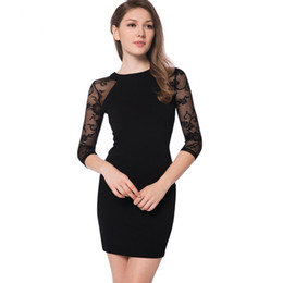 Barato Vestido Stretchy Laço Preto-Elegant Womens Cocktail Party 3/4 Sleeve Lace Raglan Sleeve Sexy Nightclub Stretchy Sheath Black Bodycon Vestido curto