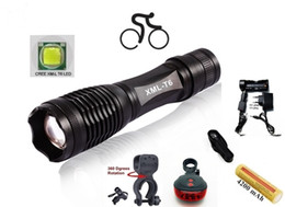 T6 Bike Canada - ALONEFIRE E007 CREE XM-L T6 LED 3800Lumens Zoom bicycle bike Cycling light Flashlight Torch with 1x18650 Battery Laser Tail lights