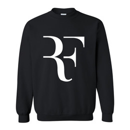 4caefafe Wholesale-New Fashion Roger Federer RF Tennis Men Casual Round collar Long  Sleeve Cotton Mens fleece Hoodies Sweatshirts Man Clothing