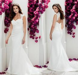 $enCountryForm.capitalKeyWord Canada - Simple Design Mermaid Cap Sleeve Wedding Dresses Chapel Train White satin Keyhole Back Button Back Cheap Bridal Wedding Gowns