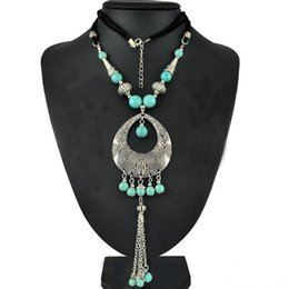 Chinese  Gypsy Fashion Women Jewelry Bohemian Vintage Silver Green Turquoise Beaded Long Tassel Necklaces & Pendants manufacturers