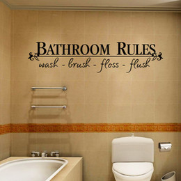 Bathroom Wall Sticker Quotes Canada - Bathroom Rules Waterproof Wall Decal Sticker Wash Brush Floss Flush Wall Quote Decoration Home Decal Decor for Bathroom